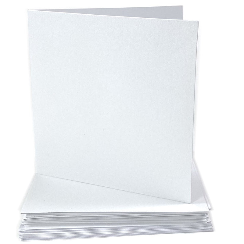 Kraft Collection White Shimmer Blank Square Cards & Envelopes 10cm x 10cm