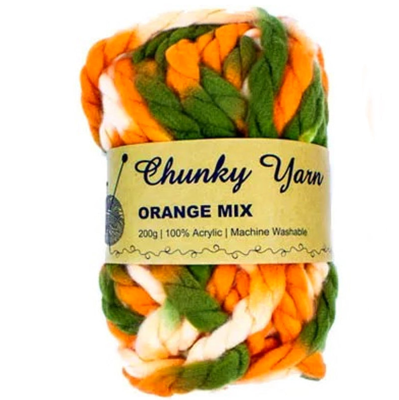 Malli Knitting Malli Knitting 200g Super Chunky Yarn Orange Mix