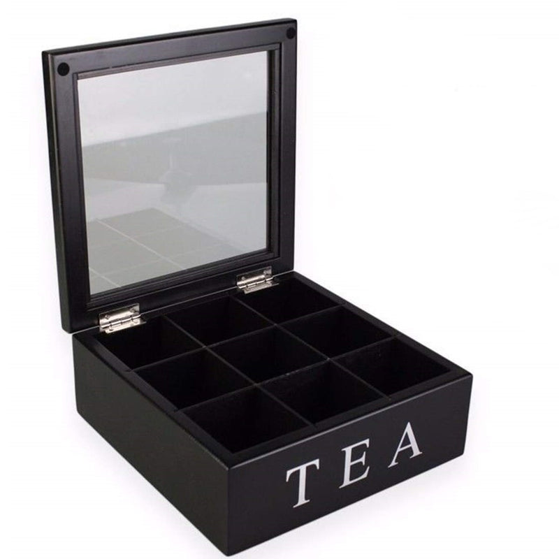 Wooden Tea Box - Black 9 Compartments