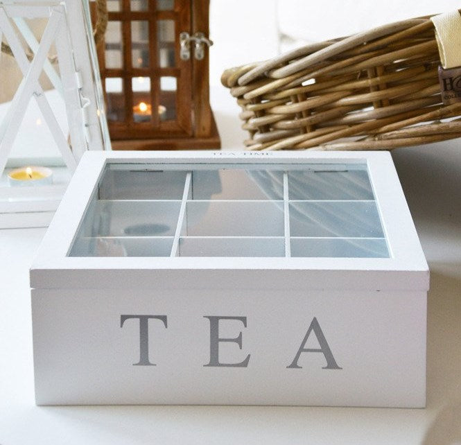 Unigift Wooden Tea Box - Black 9 Compartments