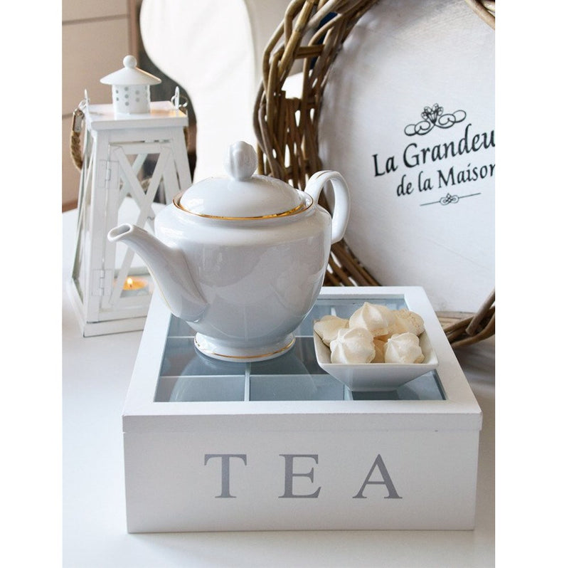 Unigift Wooden Tea Box - White 3 Compartments