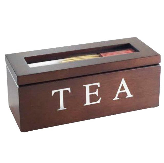 Wooden Tea Box Kitchen Storage Container - Brown 3 Compartments