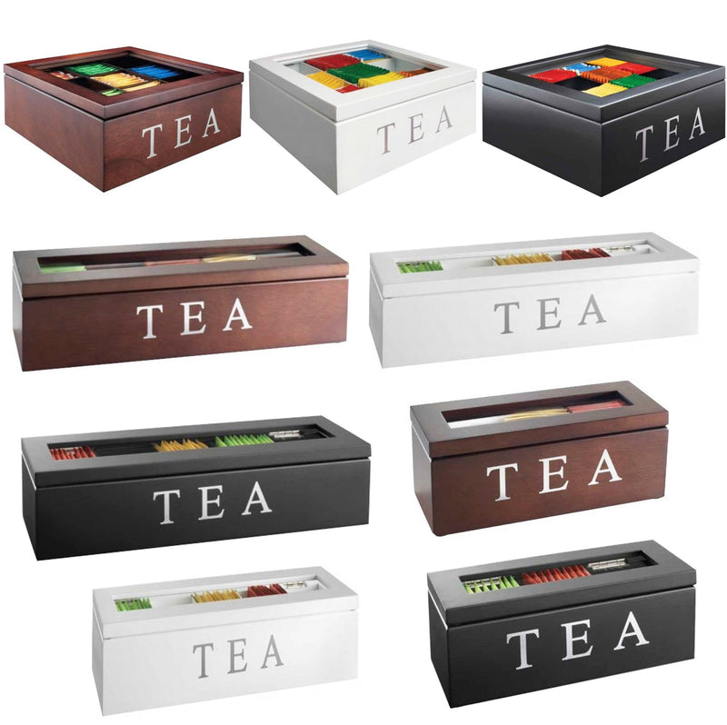 Wooden Tea Box - Brown 5 Compartments