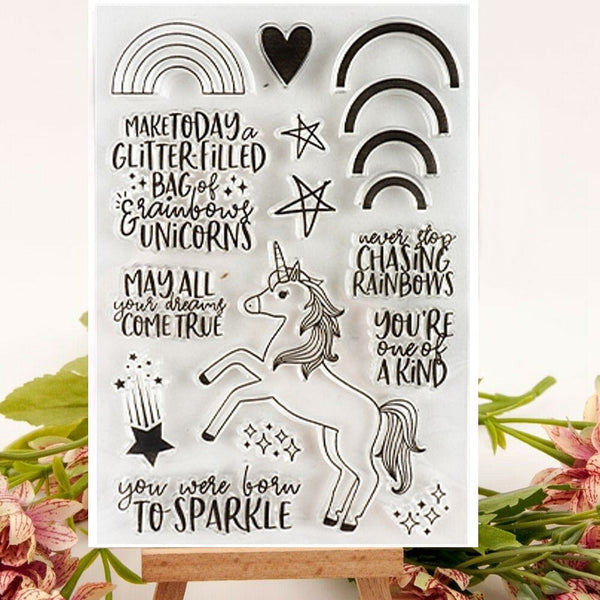 Unicorn Rainbow Star Clear Stamps Set