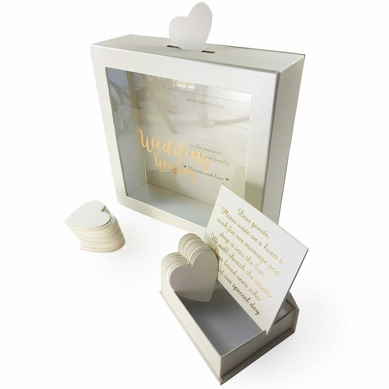 Landmark Wedding Guest Book Drop Box + 80 Heart Cards