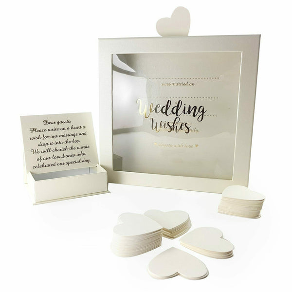 Wedding Guest Book Wishes Drop Box + 80 Heart Cards