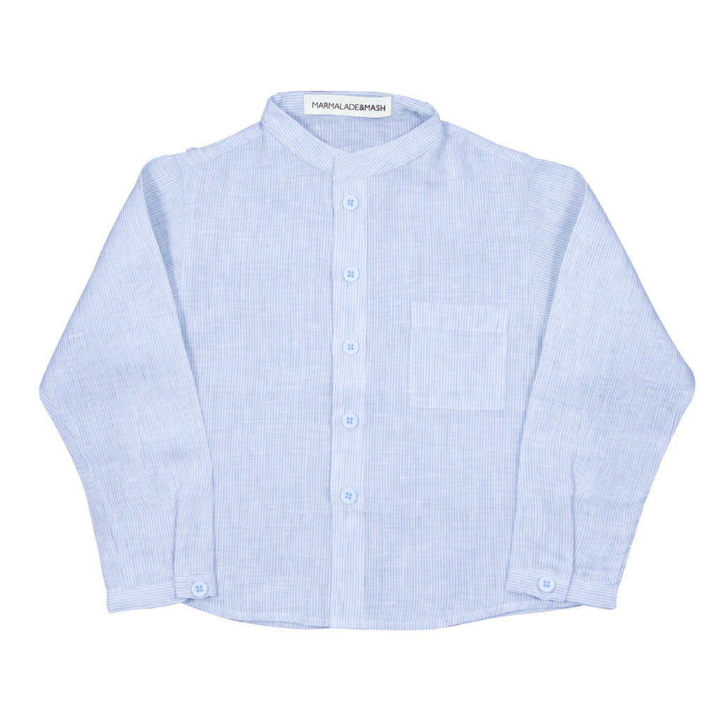 Striped Linen Shirt in Blue