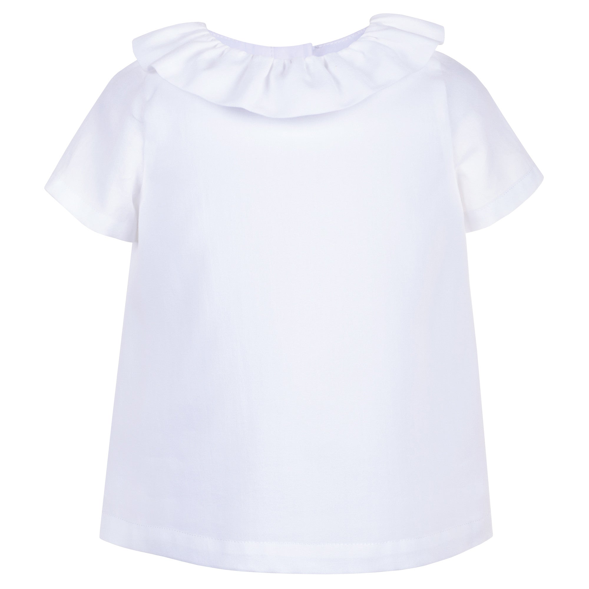 Ruffle Neck Short Sleeve Blouse