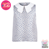 Metallic Spot Double Collar Top