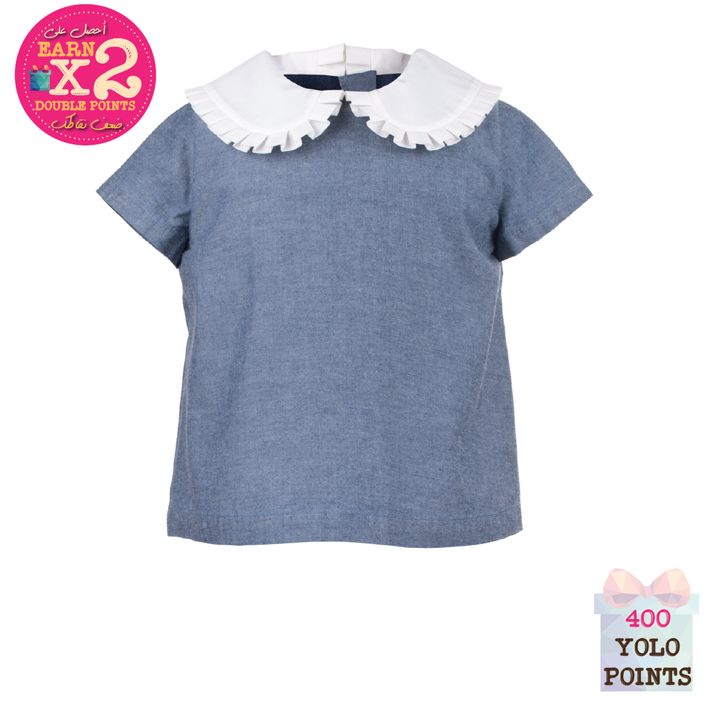 Ottoman Spot Scalloped Collar Top