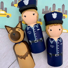 Load image into Gallery viewer, Police and German Shepherd Peg Dolls