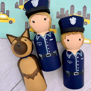 Police Peg Dolls and Cruiser Play Set