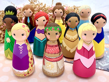 Load image into Gallery viewer, Large Princess Peg Dolls