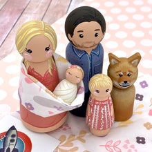 Load image into Gallery viewer, Custom Family Peg Doll Portrait