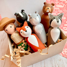 Load image into Gallery viewer, Park Rangers and Woodland Animals Peg Dolls