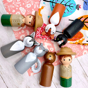 Park Rangers and Woodland Animals Peg Dolls