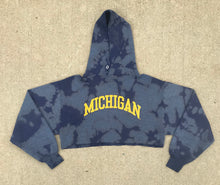 Load image into Gallery viewer, Custom Bleach Dyed Michigan Crop Top