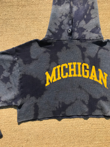Custom Bleach Dyed Michigan Crop Top