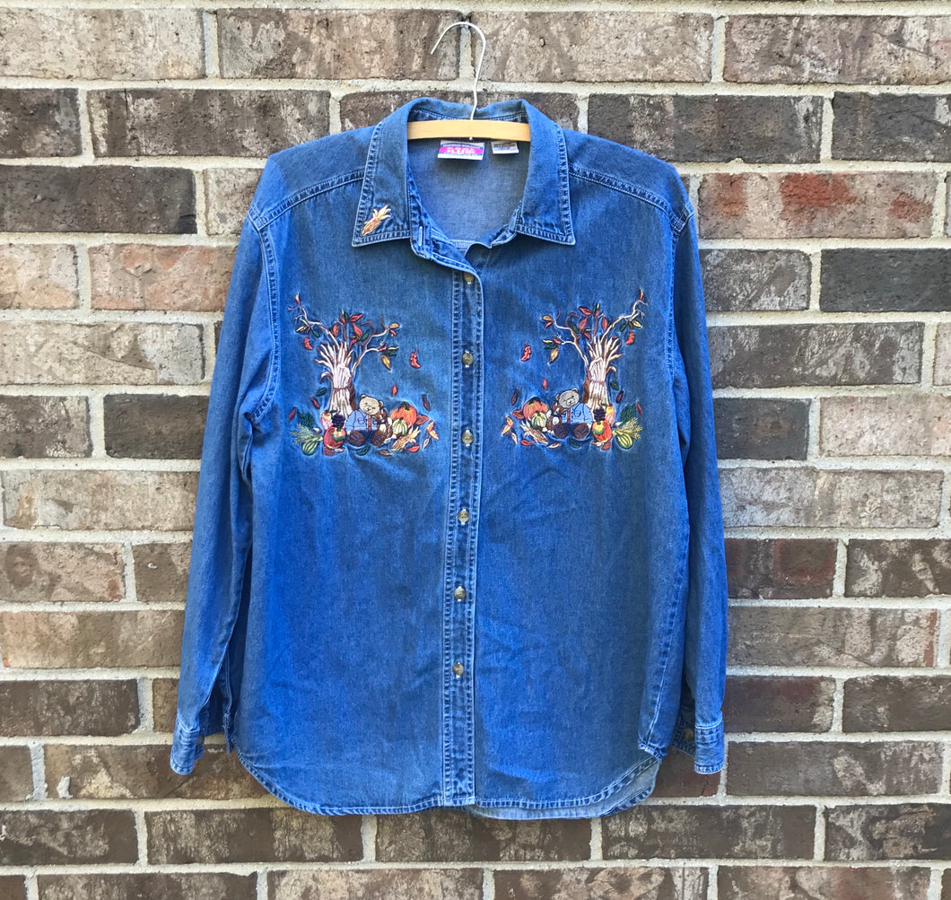 1990's Fall Themed Denim Shirt