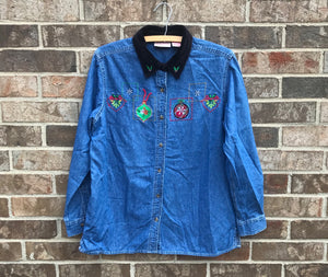 Vintage Christmas Denim Shirt