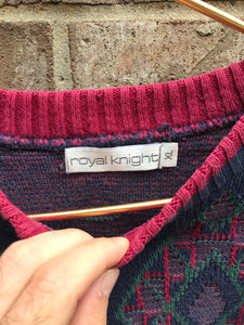1990's Royal Knight Knit Sweater