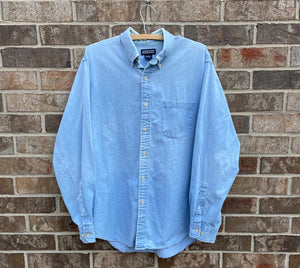 90's Distressed Denim Button Up