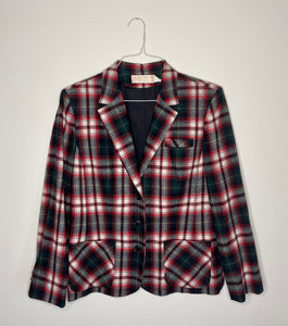 1980's Plaid Wool Blazer
