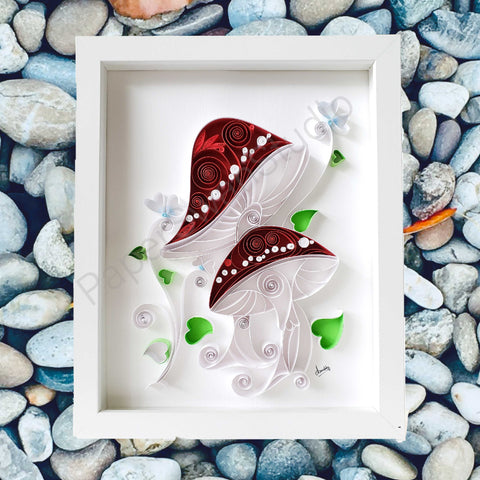 Red and white mushroom forest, mushroom art for wall décor, white frame, for plant lover, for mushroom lover, for kitchen décor, for dining room décor, for chef, for cook, for farmer, for gardener, gift for best friend, gift for mom, gift for dad, for him, for her