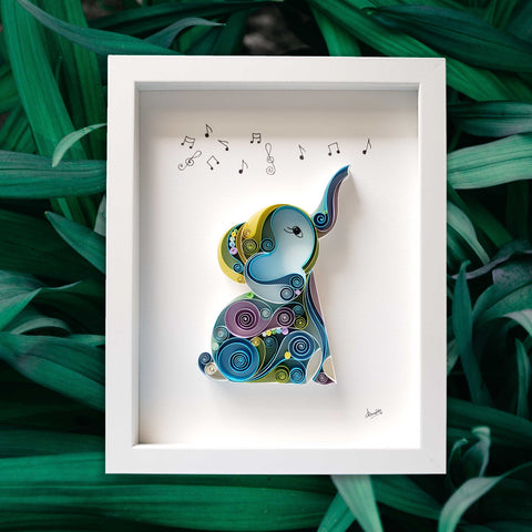 Blue baby elephant, raised trunk, catching music symbols, gift for new baby, babyshower, birthday, good luck gift, wild life love, elephant art, gift for wild life lover, gift for animal lover, animal doctor, gift for veterinarian, Fine art, Original art, Wild life art