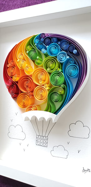 Best mother's day gift, best wedding day gift, best father's day gift, best gift near me, unique, premium, exclusive, hot air balloon artwork, rainbow colors, original art, paper art