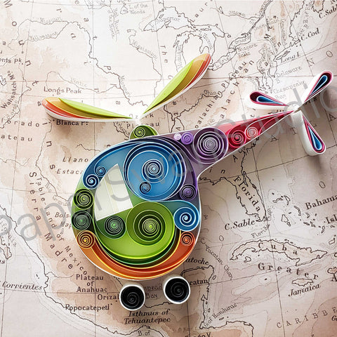 Colorful Helicopter, rainbow themed helicopter on map, for adventurer, gift for him, gift for pilot, for the one who loves to fly, honeymoon planner, Chopper pilot, Gift for her, pop color helicopter