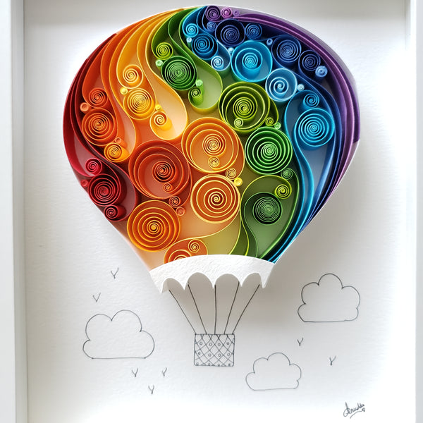 gift for paper anniversary, one of a kind gift, Unique gift, exclusive gift, perfect for traveler, explorer, pilot, kids, pop color, colorful wall décor, hot air balloon art, balloon in the sky art, original art, paper art