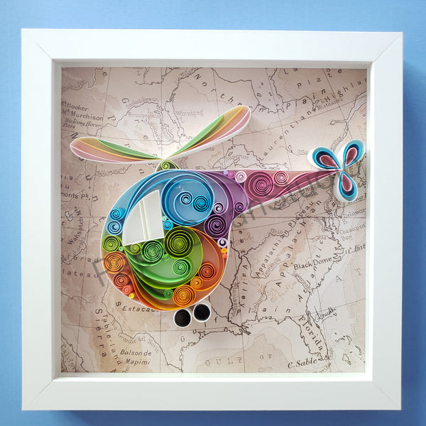 Paper Anniversary, Best Christmas Gift, Helicopter art, travel office décor, travel lover art, gift for traveler, Gift for pilot, Gift for new couple, honeymoon planner, Gift for first responder, Gift for rescuer, Wedding Gift, One who loves to fly, Map artwork