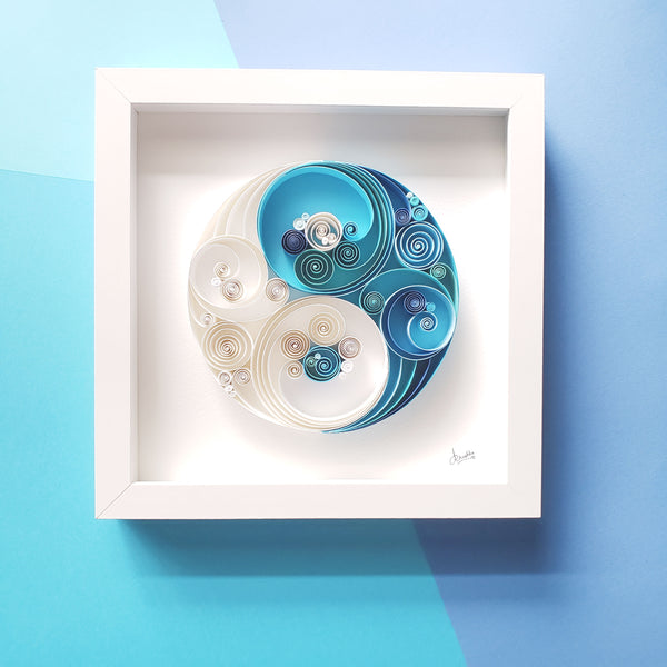 Spiritual gift,Unique Gift.yin yang,blue white art,Birthday Gift,harmony,balance gift,chinese symbol,gift for yoga lover,Wall decor frame, white frame