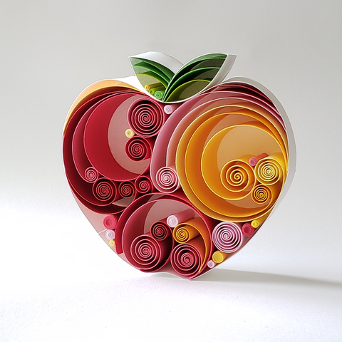 Fruit Art, Warm colored Apple Art, Paper Art, Fine Art, Original Art, 3D artwork, White frame, Best gift near me