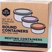Round Nesting Containers Pastels 3 Piece Set