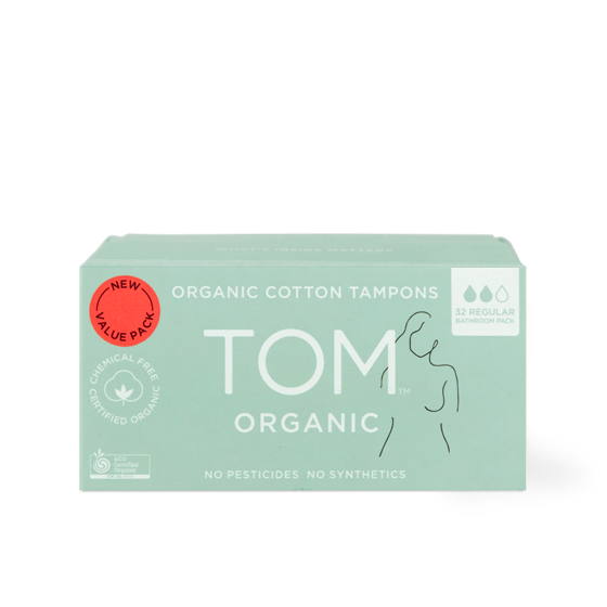 100% Organic Cotton Regular Tampons Bathroom Pack 32