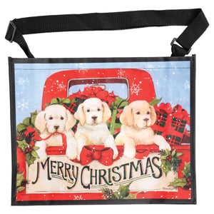 Puppies Christmas Horizontal Tote Bag