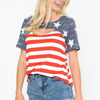 AMERICAN FLAG THEME TOP WITH OPEN FRONT DETAILS