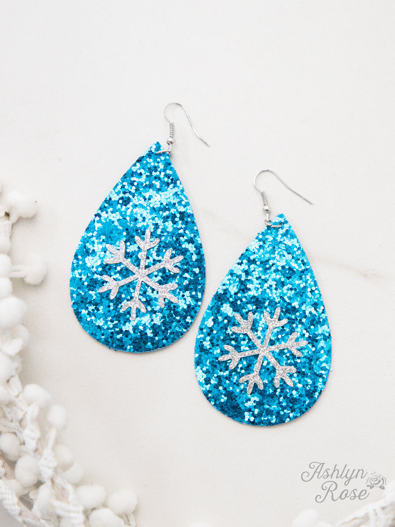 A Wonderland of Snow Glitter Teardrop Earrings