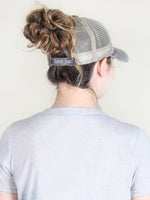 Amazing Grace Patch on Baby Pink High Ponytail Hat with Grey Mesh