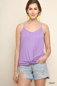 Basic Tank Top with Adjustable Spaghetti Straps and a Gathered Front Knot - Violet