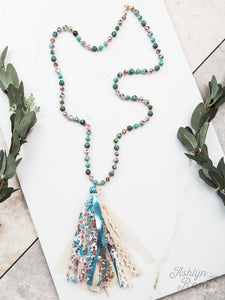 Beaded Necklace with Statement Tassel, Metallic Turquoise
