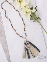 Birds of a Feather Beaded Necklace with Snakeskin Feather & Tassel