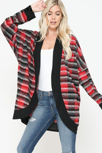 Plaid & Stripe Mixed Print Open Cardigan with Solid Band