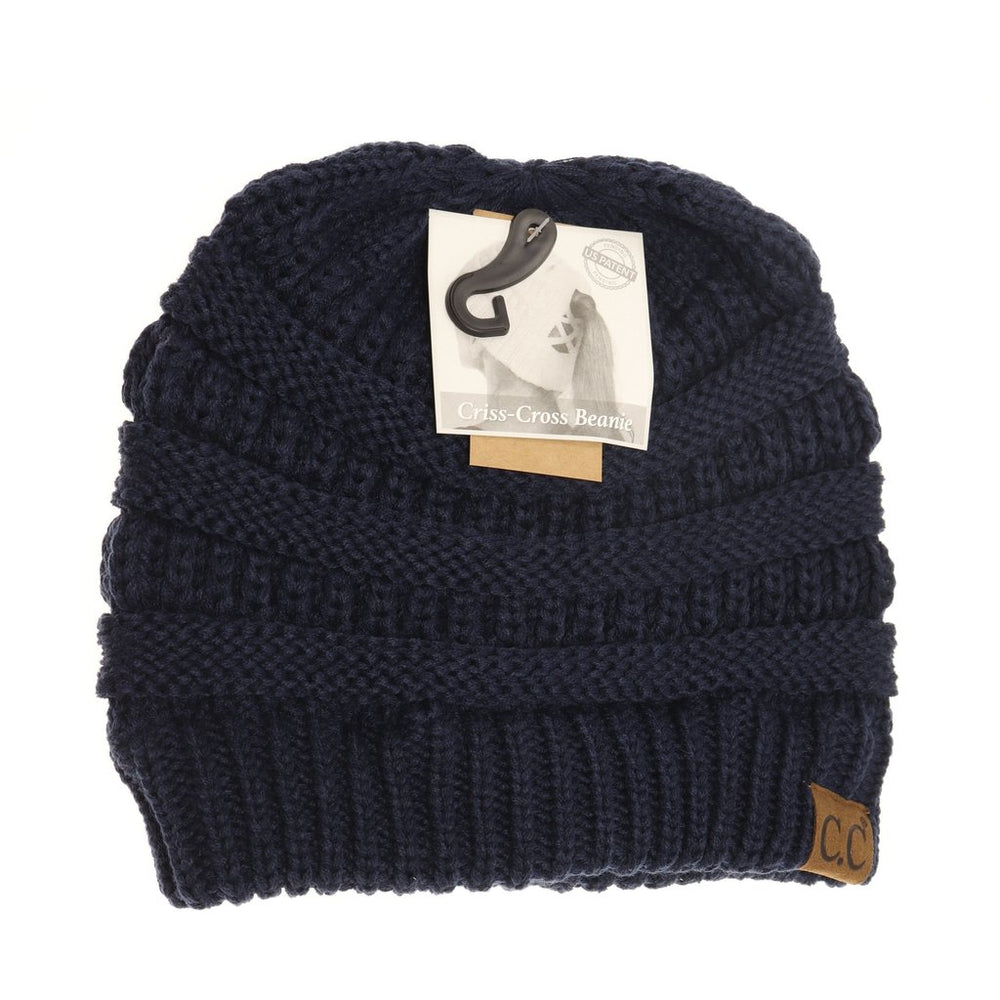 Criss-Cross Knit Beanie - Navy