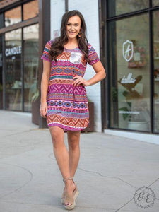 Cabana Ready Bright Aztec T-Shirt Dress with Silver Sequin Pocket