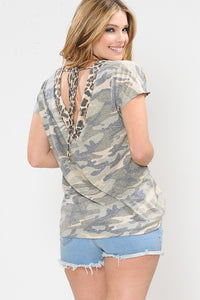Camo Print Open Back Top with Leopard Neck Band