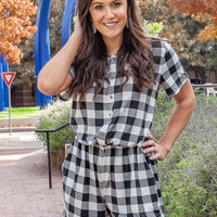 Check Yourself Button-Up Gingham Romper