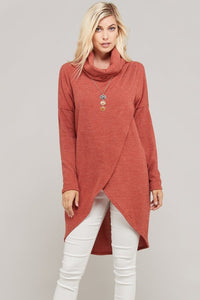 Cowl Neck Hacci Sweater - Rust